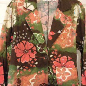 Cato Brown Floral Sequined Jacket